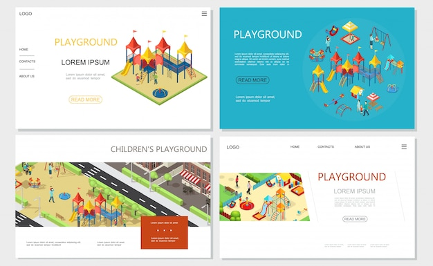 Isometric kids playground websites with slides swings recreational park sandbox playhouse seesaw benches