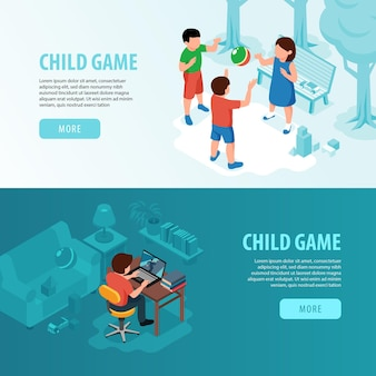 Isometric kids playing out and computer game with text illustration