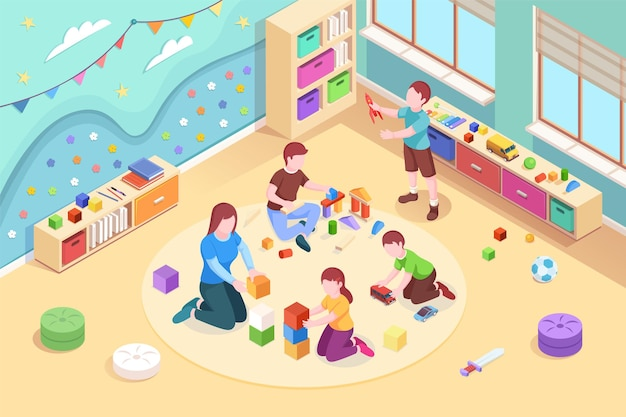 Isometric kindergarten room with playing kids children at preschool classroom with teacher boys and