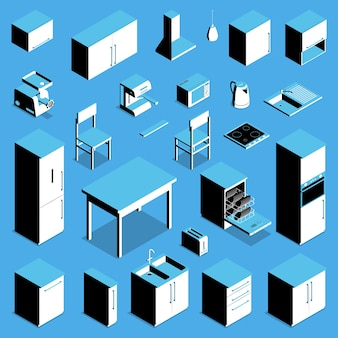 Isometric kitchen appliances and furniture set