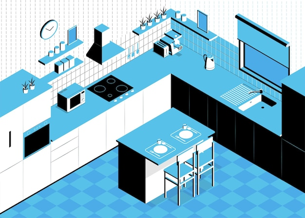 Isometric kitchen composition with indoor scenery table and walls with cabinets and kitchenware sink and oven