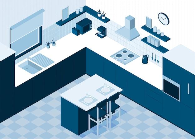 Изометрическая кухонная горизонтальная композиция с монохромным видом интерьера комнаты с кухонными принадлежностями и обеденным столом