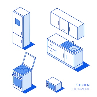 Isometric kitchen icons