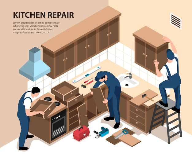 Изометрическая иллюстрация ремонта кухни