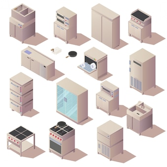 Isometric kitchen restaurant appliances furniture