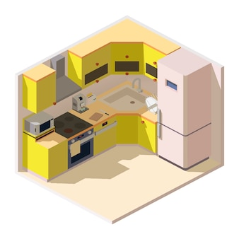 Isometric kitchen room with furniture and household appliances