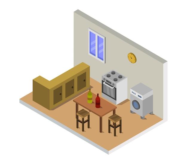 Isometric kitchen room