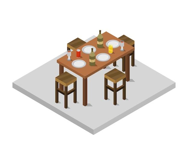 Isometric kitchen table