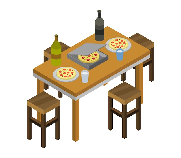 Isometric kitchen table