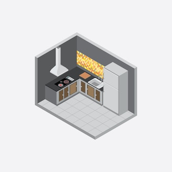 Isometric kitchen wall dark color