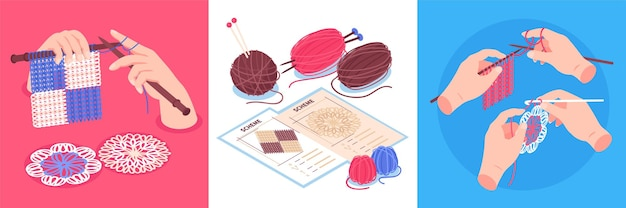 Isometric knitting  set of square compositions with human hands holding pins and colourful clews