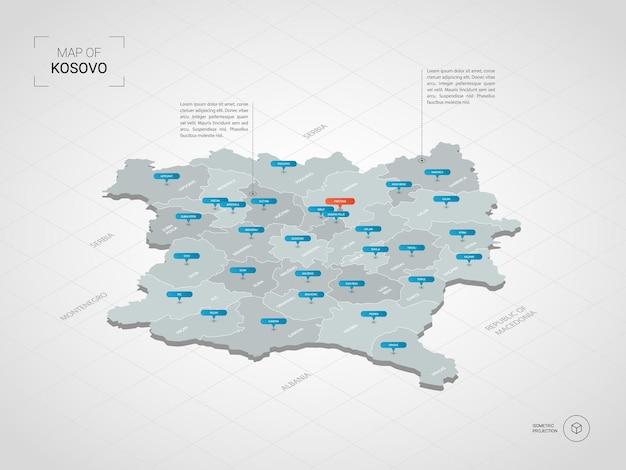 Изометрическая карта косово. стилизованная иллюстрация карты с городами, границами, столицей, административным делением и указателями; градиентный фон с сеткой.
