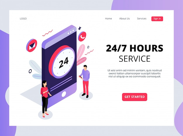 Isometric landing page of 24/7 hours services