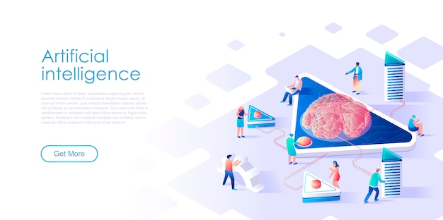 Isometric landing page artificial intelligence flat concept