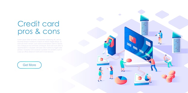 Isometric landing page atm machine or credit card flat concept