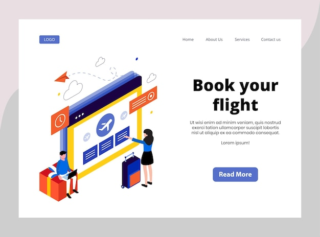 Isometric landing page of book your flight
