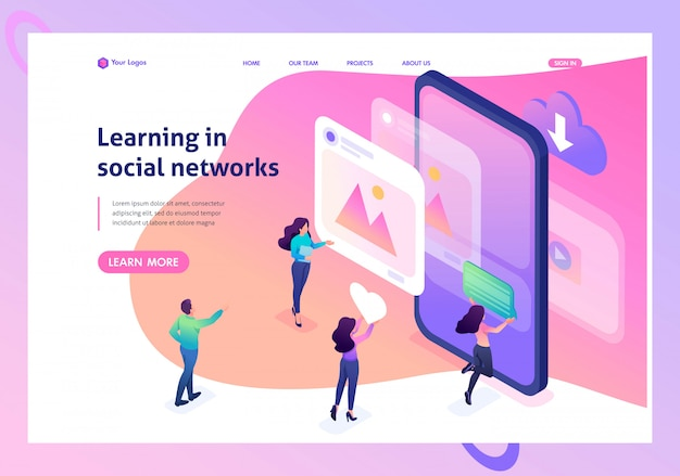 Isometric landing page of bright concept learning the correct profile design in social networks.