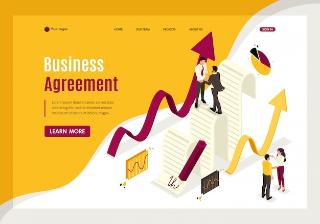 Isometric landing page of business agreement partners, growth revenue schedules.