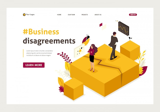 Isometric landing page of business partner disagreements, disputes and conflicts.
