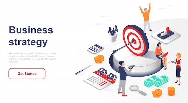 Isometric landing page business strategy or marketing