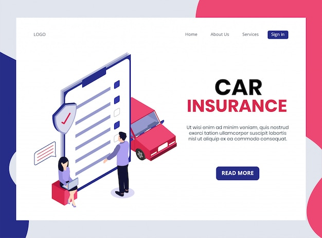 Isometric landing page of car insurance