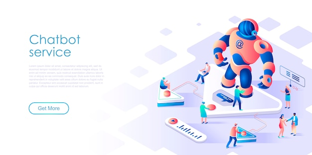 Isometric landing page chatbot or artificial intelligence flat concept