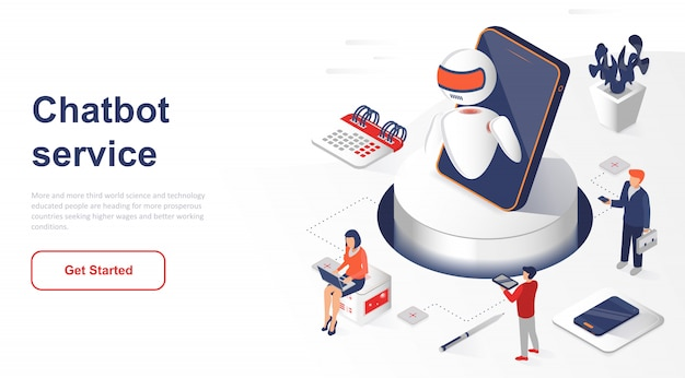 Isometric landing page chatbot or artificial intelligence
