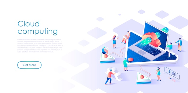Isometric landing page cloud computing or technology flat concept