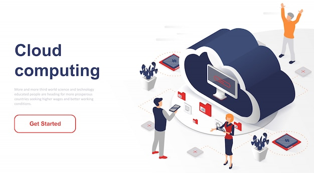 Isometric landing page cloud computing or technology