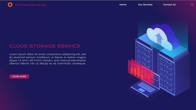 Isometric landing page for cloud services