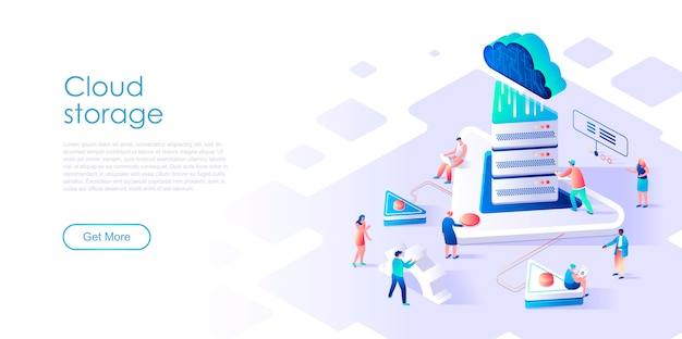 Isometric landing page cloud storage or technology flat concept
