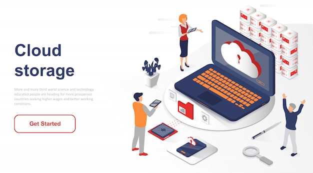 Isometric landing page cloud storage or technology