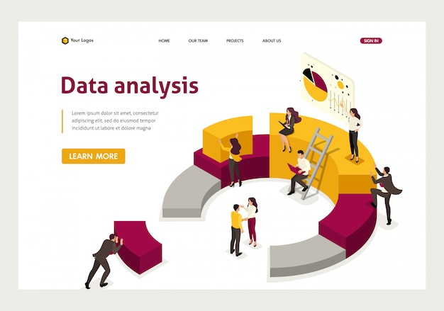 Isometric landing page of collecting and analyzing data, people collect a chart.