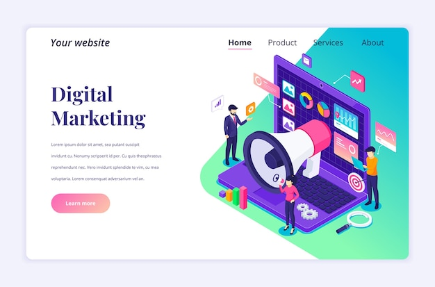 Isometric landing page  concept of digital marketing, people work with data and  charts