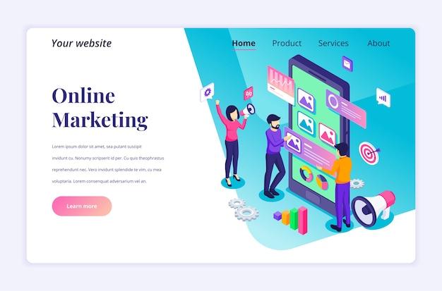 Изометрическая концепция целевой страницы цифрового маркетинга, персонажей людей и текстового места