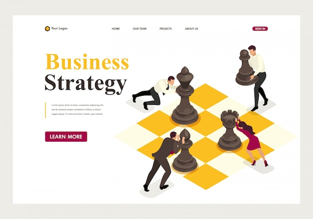 Isometric landing page of concept strategic business planning, teamwork.