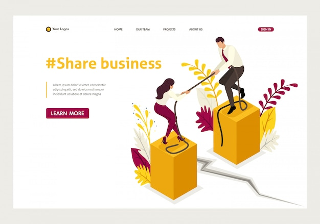 Isometric landing page of conflict of partners and disagreements in business.