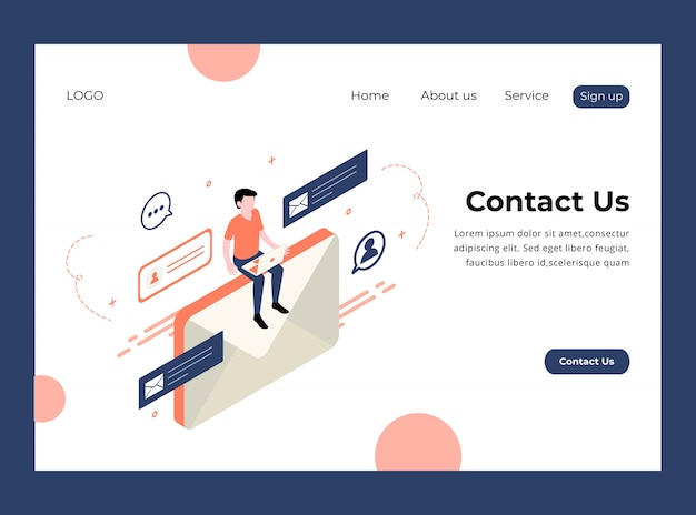 Isometric landing page of contact us premium template