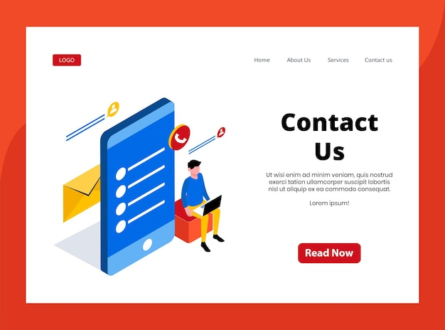 Isometric landing page of contact us