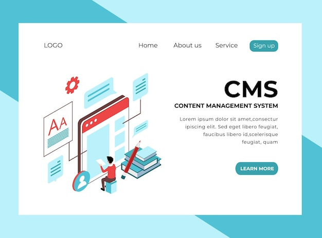 Isometric landing page of content management system