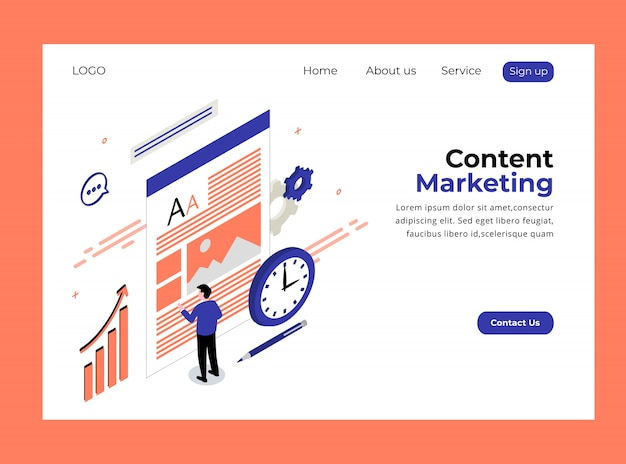 Isometric landing page of content marketing template premium
