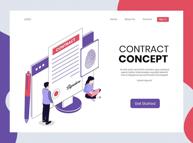 Isometric landing page of contract