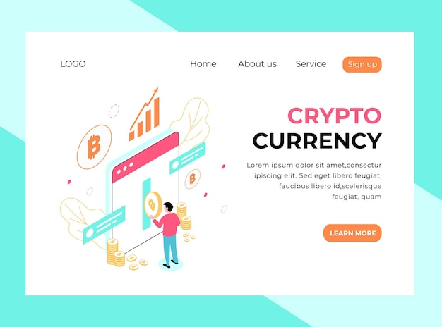 Isometric landing page of crypto currency