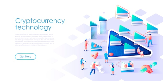 Isometric landing page cryptocurrency exchange or mining flat concept
