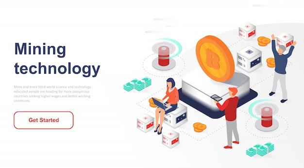 Isometric landing page cryptocurrency exchange or mining