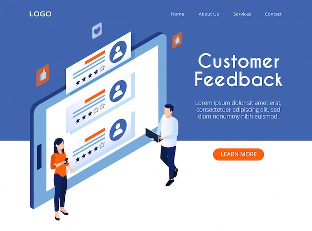 Isometric landing page of customer feedback