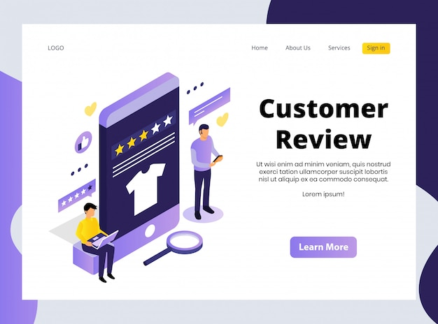 Isometric landing page of customer review