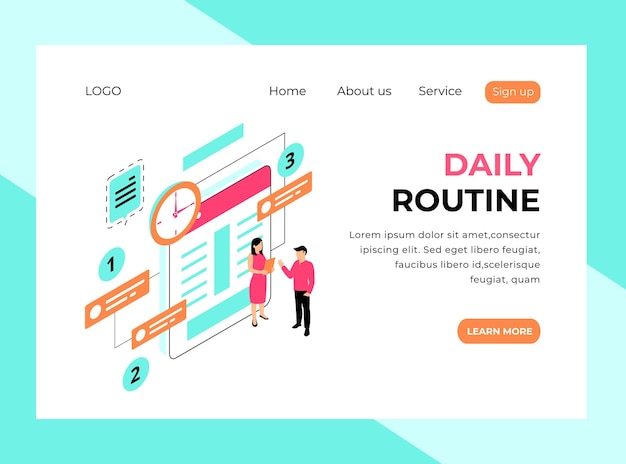 Isometric landing page of daily routine