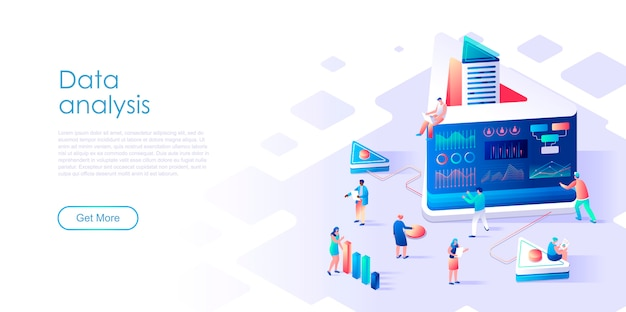 Isometric landing page data analysis or analytics flat concept