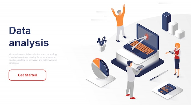 Isometric landing page data analysis or analytics